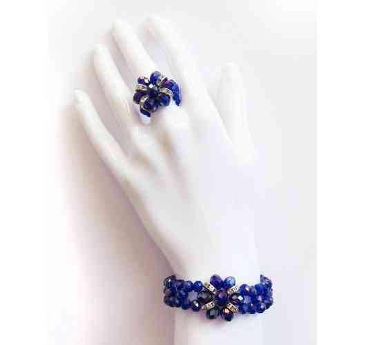 KFarah Femme || Duo Blue (Ring+Braclet) - Ring and Bracelet 100% handmade in crystal pearls.