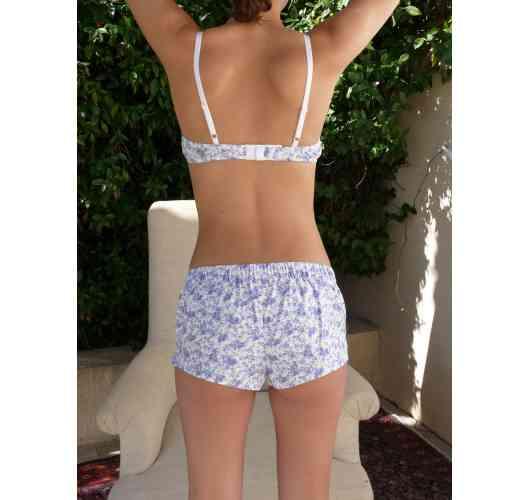 short pants - Iris in ecologic cotton Toile de Jouy blue
