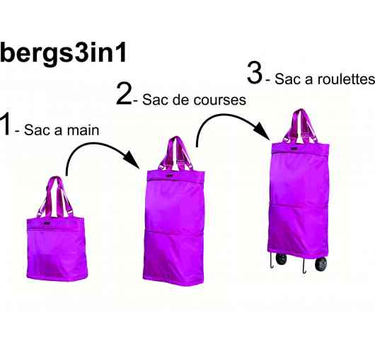bergs3in1 - simply undoing just 2 zips, the bergs3in1 transforms in seconds from (1) tote bag, to (2) a cabin bag, and finally to  (3) a wheelie bag.