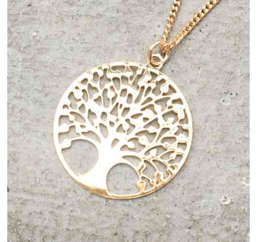Necklace Tree of Life - Necklace Tree of Life in gold plated 3 microns mounted on a 45 cm gold-plated chain. Strong symbolic that the Tree of Life which connects us to our roots and to, inviting us to be in the present moment, well anchored in our reality.