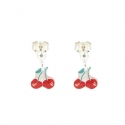 Dropped earrings, cherry - <p>Earrings in silver and resin</p>