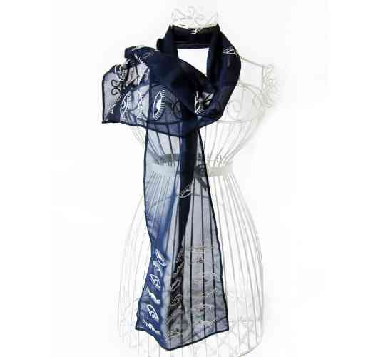 KFarah Woman || Foulard Foeil 7 - Scarf 100% handmade and silk. Embroideries and inlays in crystal pearls.