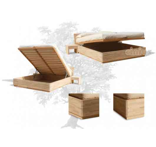 "Box Bed - Synthetic and rational design, for a practical bed-storage solution. A ""space-saving"" design with simple lines, based on the aesthetic charm of solid finger joint beech wood . Complete with lift-up slatted base with piston mechanism."