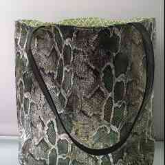 """Reiko's  bag """"Green Snake"""" - Green faux python bag can be worn with jeans as well as a dress. Each bag is unique because of the lining that will never be the same. I make them all by hand from A to Z."""