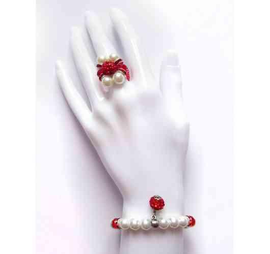 KFarah Woman    Duo Rouge (Bague+Bracelet) - Ring and Bracelet 100% handmade in glass pearly pearls.
