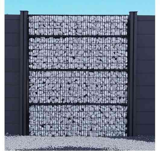 Gabion fence - New concept of innovative and customizable fence with modules of 30 or 50 centimeters high. The ideal combination of rigid fence and gabion. Fence to fill according to your wishes: pebbles, rock, stone, wood, plants, etc ... Warranty 5 years. 2 colors to choose: black or galvanized.
