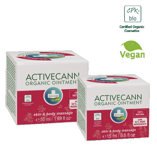 Activecann - Hemp ointment from organic farming for the massage of the whole body, especially at the level of joints, tendons, muscles and back.  The organic hemp ointment Activecann, is rich in omega unsaturated fatty acids 3-6-9, combined with the original combination of plant extracts, provides a soothing and relaxing feeling during the skin massage. This ointment provides suppleness and nutrition to the skin. *Vegan
