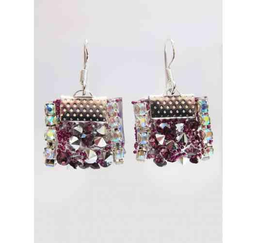 KFarah Woman || Earrings Bac Silver Purple - Earrings 100% fabrication main en perles de cristal et verre. Hooks in silver 925 sterling.
