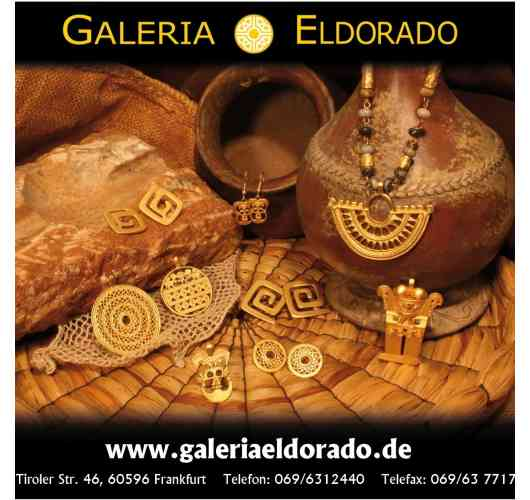 Pre-Columbian Jewellery - The originals of these replicas can be admired in the most famous museums all over the world. They are exhibited, for instance, at the Museum del Oro in Bogota, at the Völkerkundemuseum in Berlin, at the Museum de las Americas in Madrid and at the Metropolitan Museum in New York. In our studio in Frankfurt we rework the jewellery with semi-precious stones, which originate in Colombia, to bring to the market a mixture of culture and art. Thanks to this cultural background and beautiful original designs, our pre-Columbian art enjoys very great acceptance and appreciation at home and abroad. We exhibit and sell our wide range of 24 carat gold-plated jewellery at international trade fairs from Berlin, Munich and Frankfurt through to Paris, Milan and Lisbon, to mention a few.
