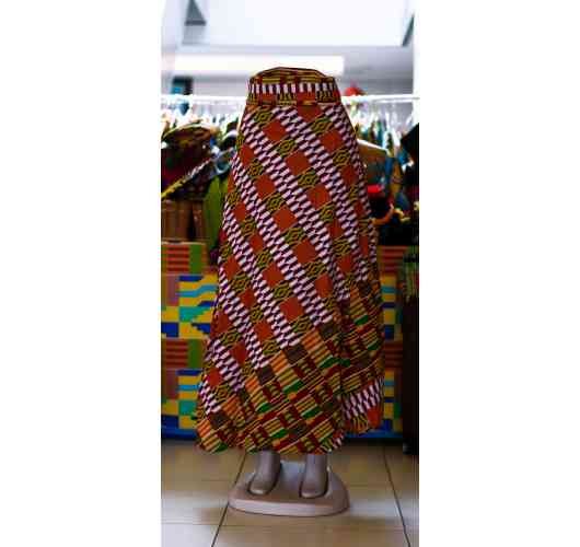 African Print Wrapper Skirts - Wraps around the waist like a robe with 2 straps to tighten waist. 100% cotton. Measures 43 wide by 44 long. Hand wash in cold water.