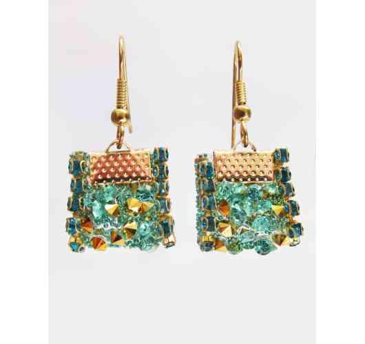 KFarah Woman || Earrings Bac Gold Turquoise - Earrings 100% fabrication main en perles de cristal et verre. Hooks in gold plated.