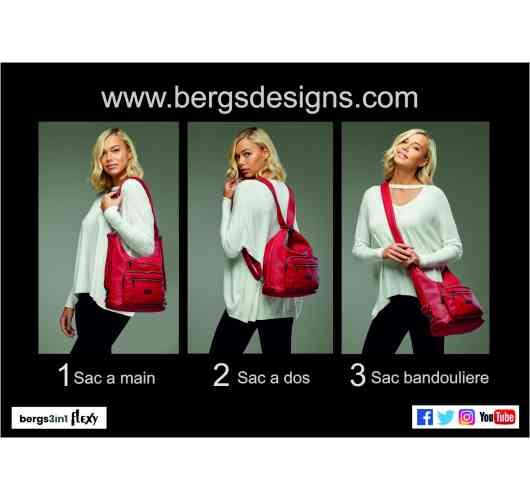 bergs3in1- FLEXY - Introducing the bergs3in1flexy, the new 'clever' bag from the creators of the successful bergs3in1 (wheelie bag), Bergs Designs. Again like its predecessor, stylishly adapts around your lifestyle allowing for greater flexibility. Now the innovative  bag makers offer you an amazing shoulder bag, backpack and crossbody bag all in one by simply adjusting the straps. Comes in two sizes, and a selection of colours to match your mood. It's both lightweight and waterproof, and like all of Bergs  Designs' products, is built to last. Visit our Stand and be dazzled by this seasons most 'flexy' bag!