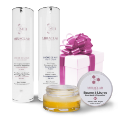 Day & night cream and his organic lip balm - Set of three paraben-free cosmetics for the face for a complete routine that meets the needs of all skin types.  This full face care kit contains: a moisturizing day cream, a nourishing night cream and an organic lip balm.