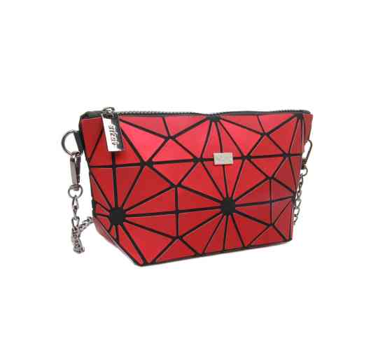 Handbag MOZAIKO - 24RED - This bag is designed in a material with ashy colors Dimensions: 24 * 13 * 8cm Color: ash red