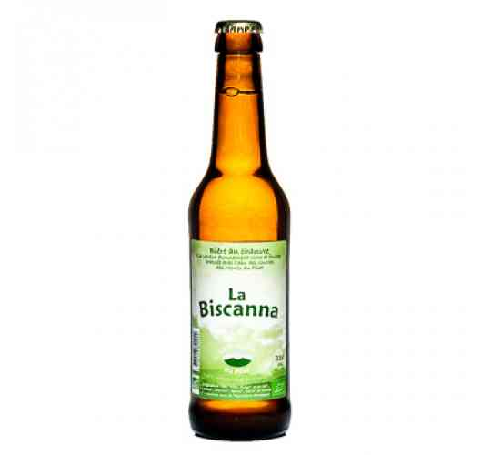 The Biscanna (beer) - La Biscanna is a certified, artisanal beer from organic farming.  A mix in the brewing of hops that was accompanied by hemp leaves all bringing you a surprisingly fruity taste for a blonde beer!