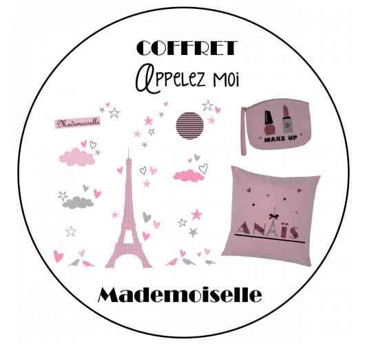 Sticker mural tour Eiffel, trousse et tote bag pailletés personnalisables - Eiffel tower wall sticker, customizable glitter bag and tote bag
