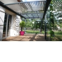 R-Sky bioclimatic pergola - <p>The Azenco's bioclimatic pergola R-Sky is the only pergola of the market with a waterproof adjustable roof. In fact, in addition to the sliding doors, it's also its roof that will open partially or totally. In this way, it allows to use the patio in summer and winter, and by all the weather. At the beginning of the first frost, furnitures and vegetables are protected and for the first sunbeams, the patio uncovers itself to fully enjoy the garden. </p>