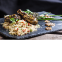 """The Afropean - Braised chicken with basil & herbes de provence with cassava semolina, tomatoes confit, olive oil, herbs and its sauce """"Yassa Afropean"""" mustard, onions and lime"""
