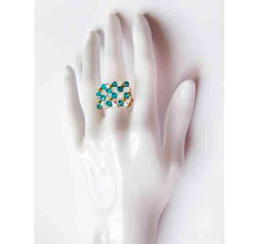 KFarah Woman || Ring Becta Turquoise - Ring 100% handmade in crystal pearls.