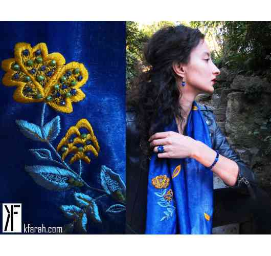 KFarah Woman || Foulard Fleurette 1 - Scarf 100% handmade and silk. Embroideries and inlays in crystal pearls.
