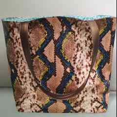 """Reiko's bag """"Serena's Snake"""" - Beige python imitation leather bag with neon yellow accents can be worn with jeans as well as a dress. Each bag is unique because of the lining that will never be the same. I make them all by hand from A to Z."""