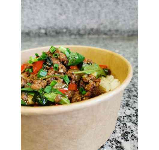 Beef Basil - Thai jasmin rice, ground beef, onions, red peppers, Thai basil, chives and secret sauce