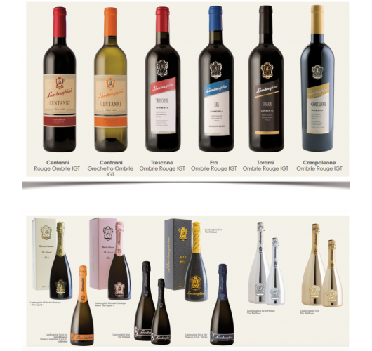 Lamborghini France (wines and sparkling wines) - White wine, which is a gourmet wine, is a GRESCHETTO single varietal.  Then the reds are made in a blend or single varietal depending on the cuvées, SANGIOVESE, MERLOT and CABERNET SAUVIGNON. Five cuvées for five profiles: from fruity wines to the great rich and complex wines for aging available at maturity (vintages available in 2012/2013 for great wines)  Finally, Five sparkling wines which are designed in the Trevise region, in the northeast of Italy (famous Prosecco region), where you will find sparkling wines in Brut, Extra-Dry, Demi-sec or rosé , based on GLERA for Valdobbiadene Prosecco Superiore DOCG (which is the highest distinction of Prosecco, the best terroirs), or PINOT BLANC, PINOT NOIR and / or CHARDONNAY for the other sparkling wines, with a particularity: the design of the bottles !  Lamborghini wines are present on the most beautiful tables / establishments in Italy, and soon in France.
