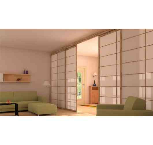 sliding doors japonese style - Inspired by traditional Japanese doors, Cinius sliding partitions are made to measure in solid finger joint beech wood , and meet all the needs of modern life.