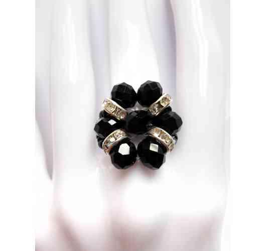 KFarah Woman || Ring BFleurette Black - Ring 100% handmade in crystal pearls.