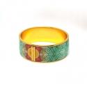 Enamelled gold-plated ring bracelet - <p>Enamelled gold-plated ring bracelet. Flor Amazona</p>