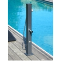 FOOTWASH STATION GRAPHITE - <p>The FOOTWASH UNIT GRAPHITE (height: 1.00m) is an alternative solution to the traditional tall shower. This shower is manufactured in galvanized steel (hot-galvanized) and coated in graphite grey color. This double industrial treatment gives the unit exceptional longevity, unique shock resistance and remarkable protection from corrosion. The footwash unit is also available in all of the colors of the RAL COLOR CHART. With a square 80 mm x 80 mm shape, this is extremely compact and enables you to install it discreetly. This unit is fitted with a water faucet, which can be used as a water source and a hand-held showerhead. The water released by the little showerhead provides an extremely gentle sensation to the skin, like being bathed in lots of refreshing soft foam.</p>